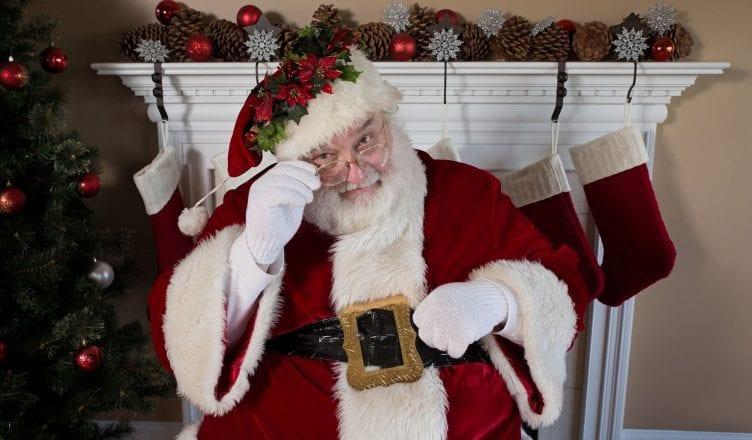 Christmas NWT Foot Traffic 3D Santa Sock Holiday