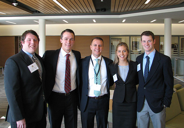 Zach O'Friel '15, Patrick Nigro '15, Marketing Department Chair Ron Jelinek, Elisabetta DeWitt '15, and Christopher Baker '15 are all smiles at the 2014 Northeast Intercollegiate Sales Competition at Bryant University.