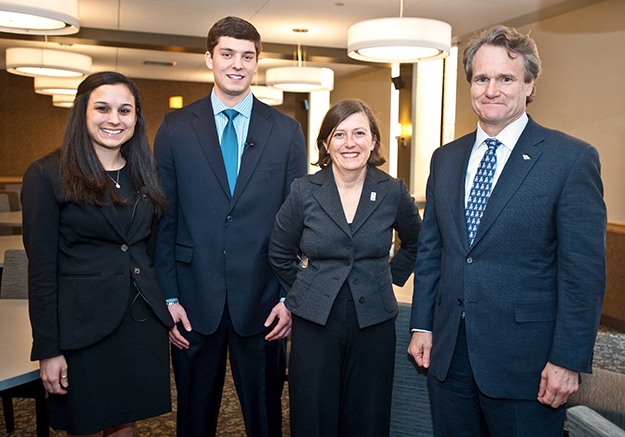 Madeleine Romeu '15 and Chris Bunsa '16 — both finance majors with accountancy minors —took turns with Dean Sylvia Maxfield asking questions of Bank of America CEO Brian Moynihan during the PCSB Dean's Symposium.