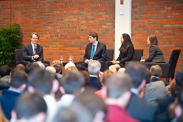 Dean Maxfield and the students asked Brian questions on a range of topics, including leadership, ethics, and the economy.