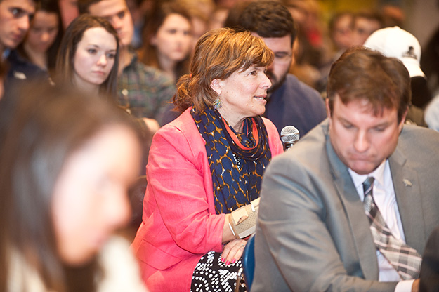 A question-and-answer session at the end of the event provided the opportunity for audience members to ask questions of Moynihan. Skip ahead to 50:30 on the video above to hear the question from Anne Nagle (pictured here), assistant dean of the School of Continuing Education.