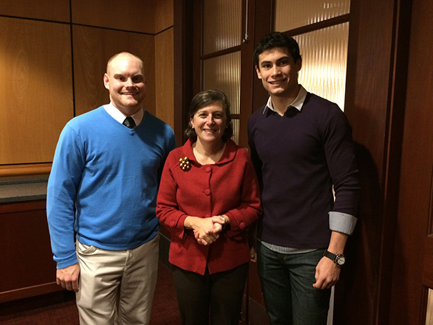 Finance major Daniel Zalewski '15 (left) and finance and economics double-major Carlos Ayala '18 (right) joined Dean Sylvia Maxfield for the fall 2014 Dine with the Dean.