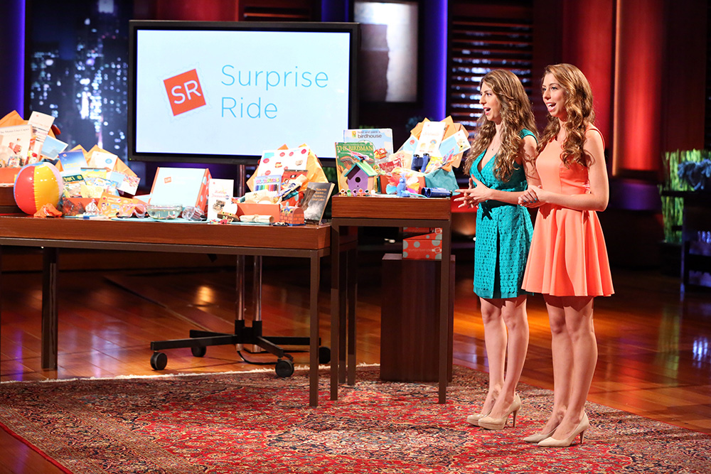"""Donna (left) and Rosy Khalife '13 presented their business, Surprise Ride, to a group of five potential investors on the show """"Shark Tank"""" in 2014."""