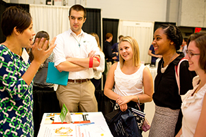Students network with potential employers