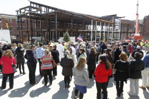 Members of the Providence College community gather during the Ryan Center Topping Off Ceremony.