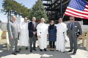 Providence College administrators outside the Ryan Center at the Topping Off Ceremony.