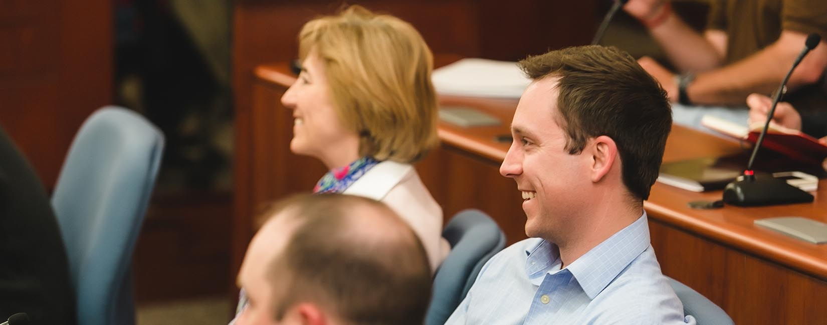 Part-time MBA students listen to Dr. Dan Horne's lecture.