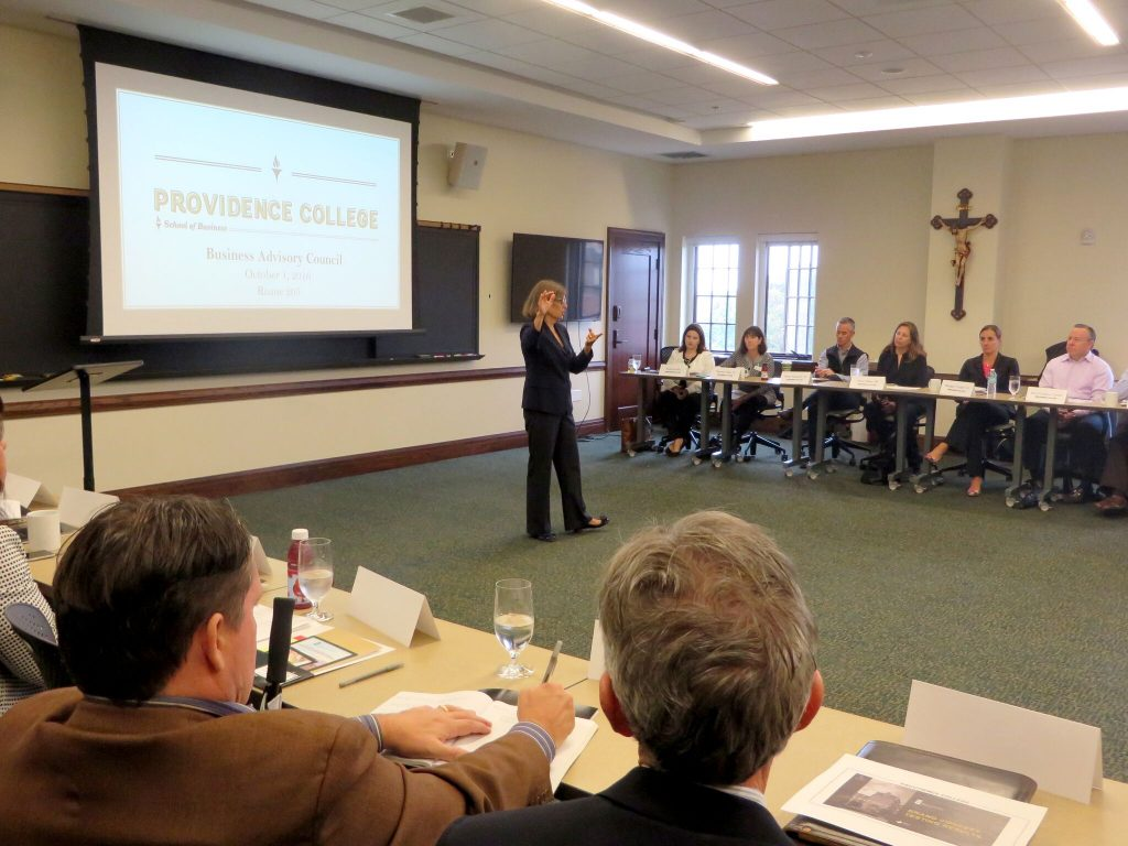 Dean Sylvia Maxfield speaks to Business Advisory Council members during St. Dominic Weekend 2016.