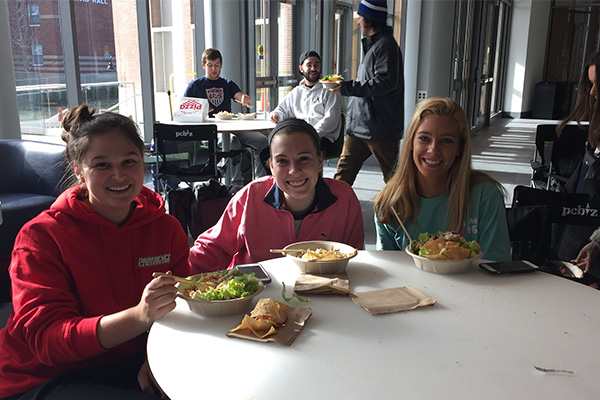 Lunch from Qdoba Mexican Grill was served at the PC Men's Basketball game watch.