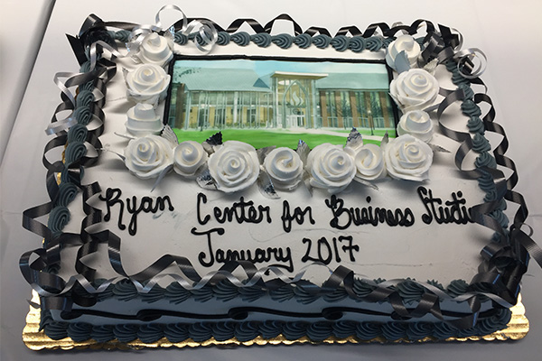 The cake to celebrate the new Ryan Center soft opening.