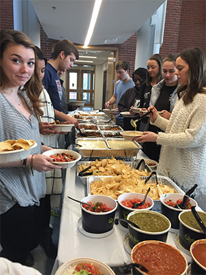 A buffet lunch from Qdoba Mexican Grill was served at the PC Men's Basketball game watch.