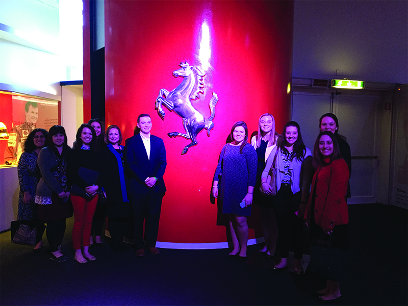 MBA students and faculty at Ferrari in Milan, Italy