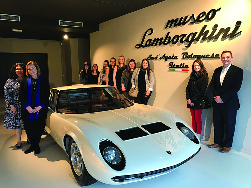 MBA students and faculty at Lamborghini in Milan, Italy