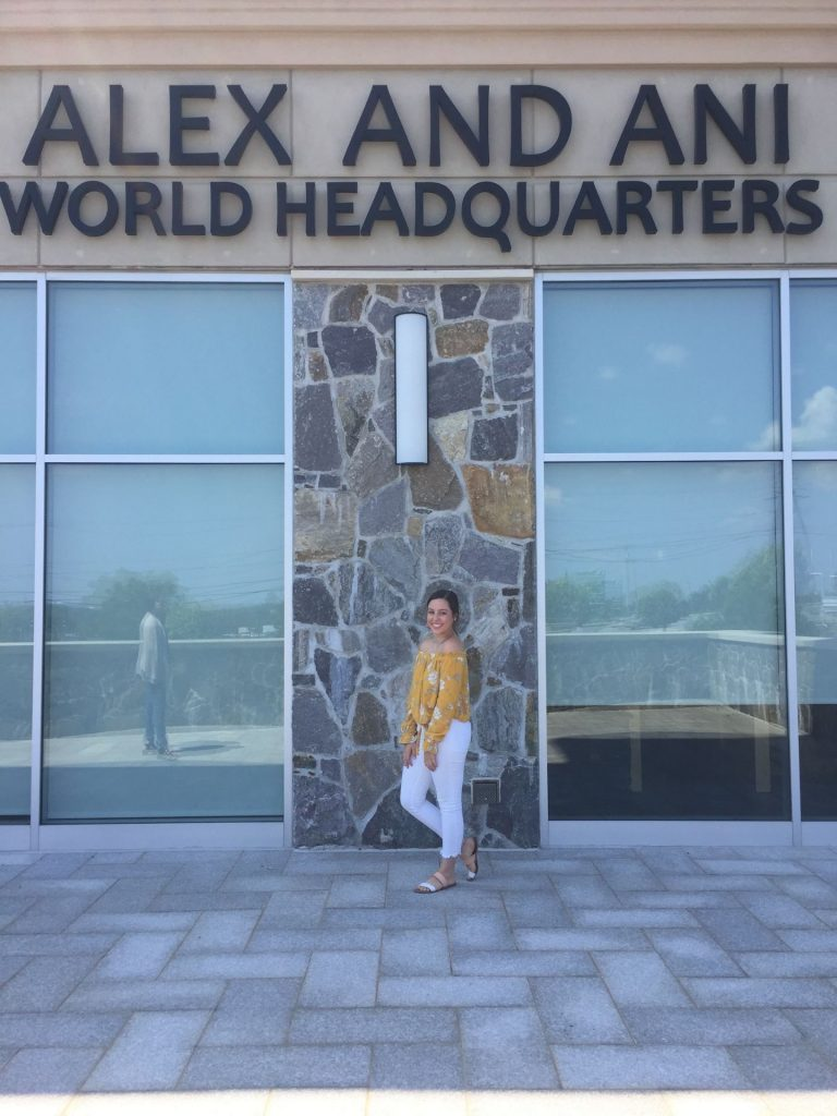 Jenna outside of the ALEX AND ANI World Headquarters.