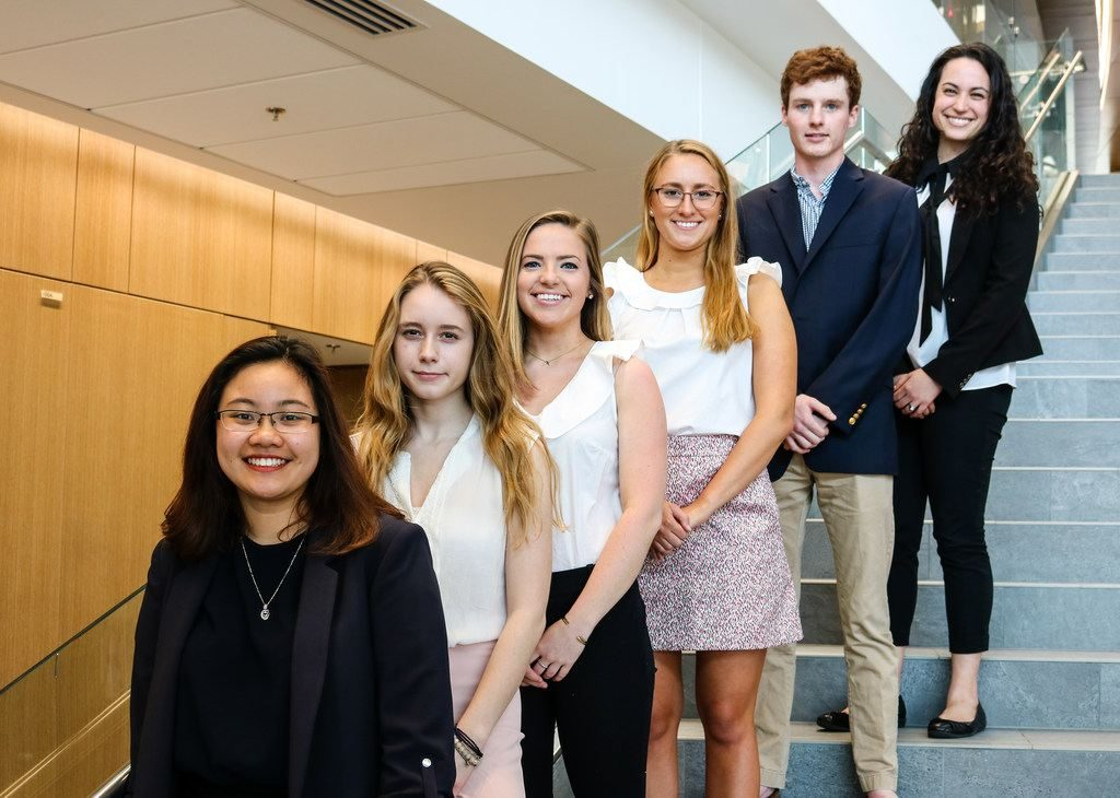 (from front to back) Phuong Pham '19, Skylar Yacullo '21, Annie Shelley '19, Madeline Snow '19, Jack Shanahan '19, and Leah Martin