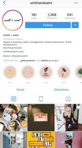 Instagram grid of picture for Smith + Saint