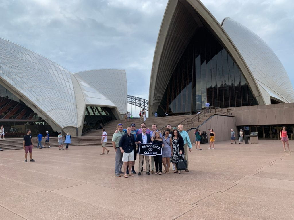 Students standing in front of the Opera House in Sydney Australia
