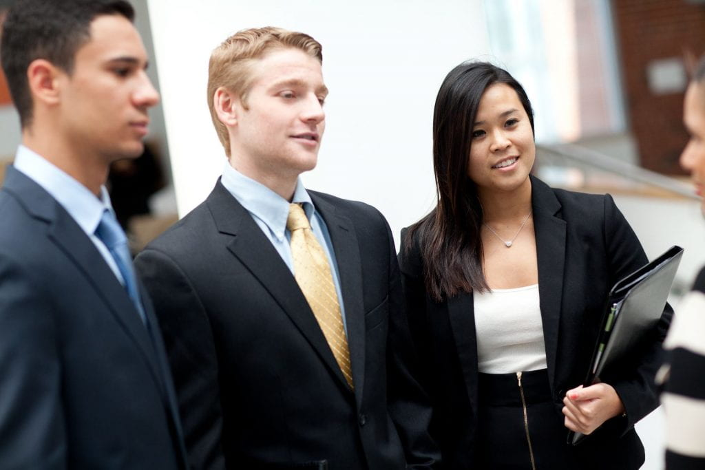 Students in business clothing.