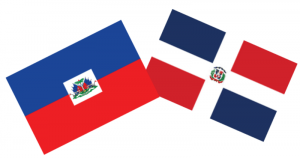 Haiti and the Dominican Republic's flag to promote The Hispaniola Effect event on campus on March 27 at 7pm in Moore 122.