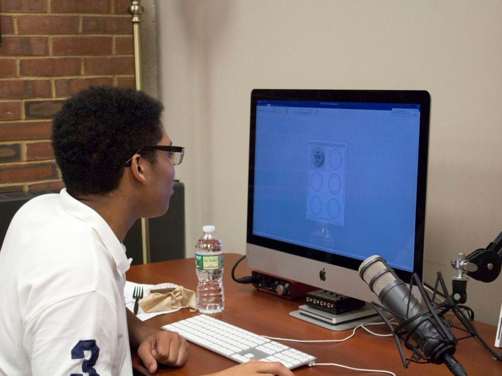 Student working on project in Media Hub