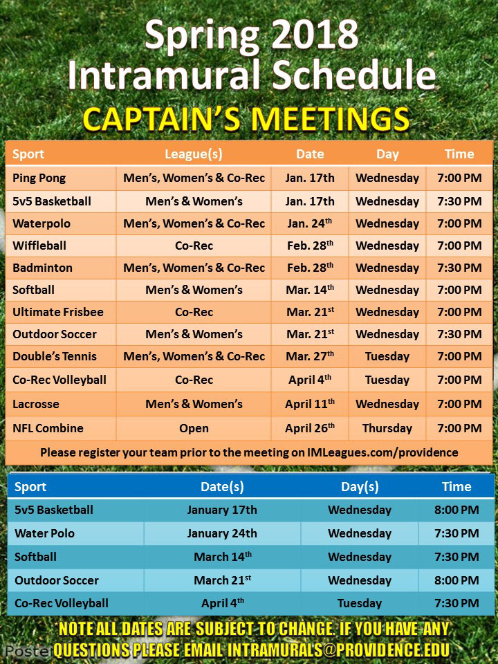 Spring 2018 Intramural Meetings