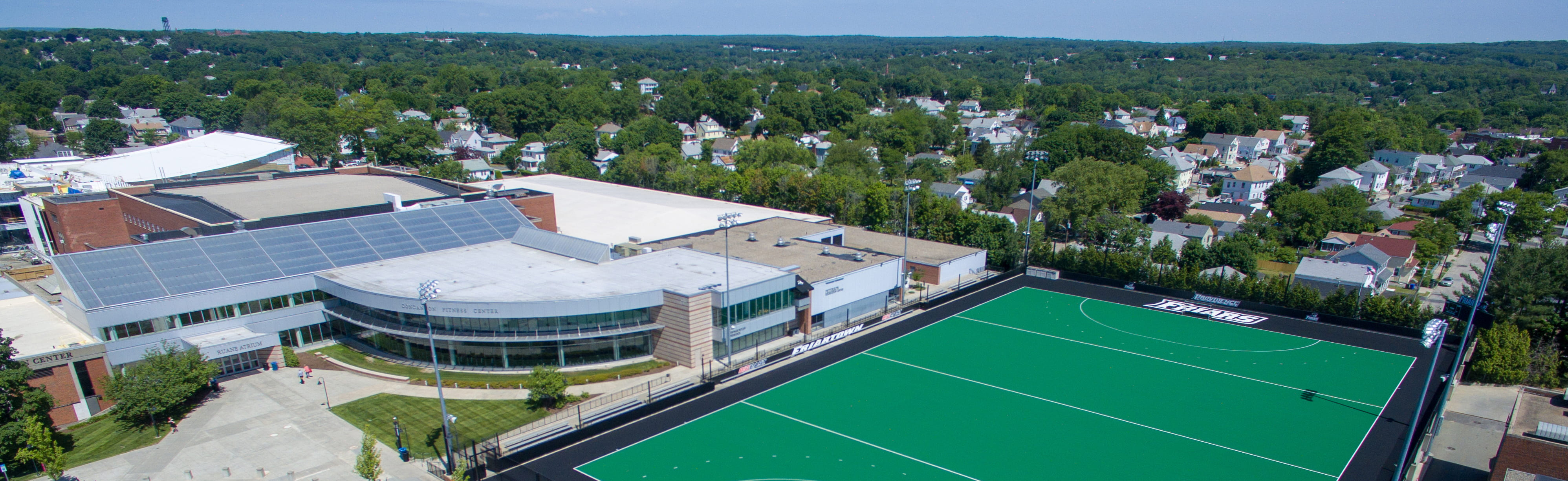 aerial photo of concannon fitness center and lennon field