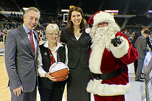 Dr. Pam Sherer, Honoary Coach with Santa at Friars game