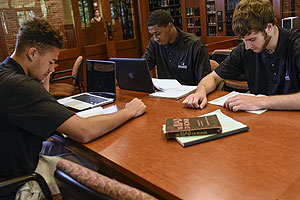 Students reading for Developemnt of Western Civilzation in Student-Athlete Study Hall