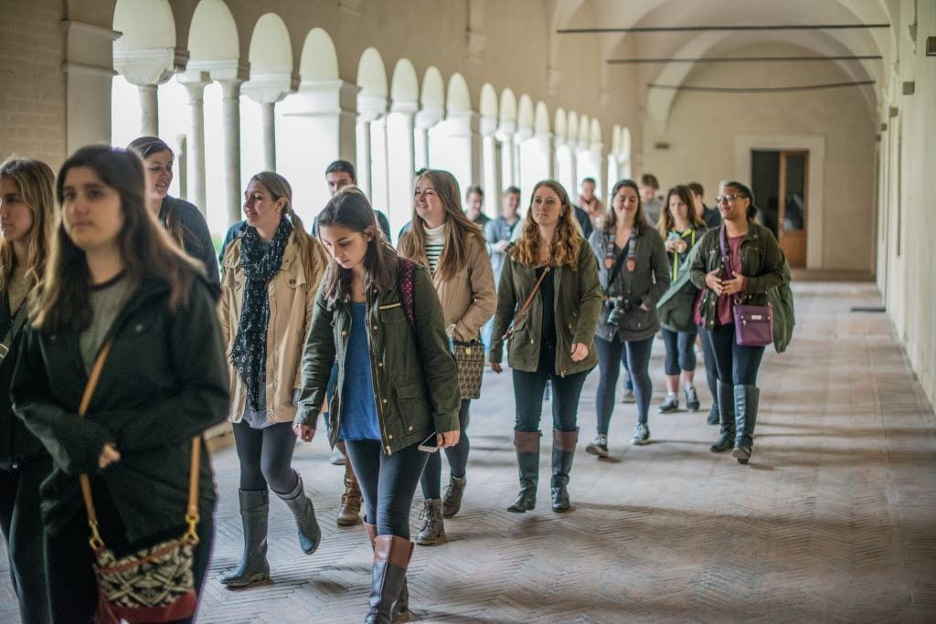 students touring rome