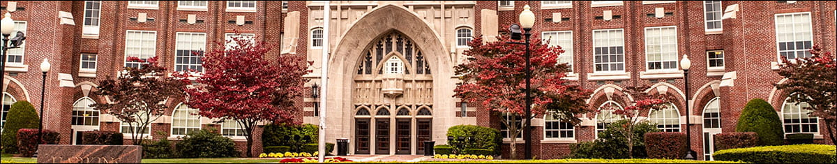The front entrance to Harkins Hall