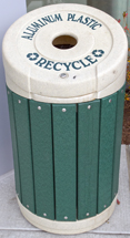 Outdoor Recycling Tote, reads aluminum plastic recycled