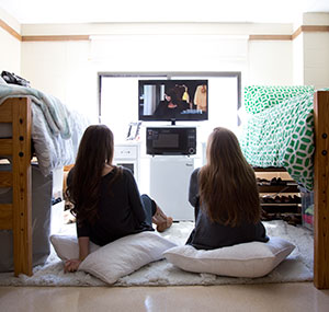 Students in their dorm room