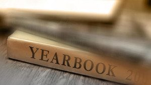 Photo of a book spine that says Yearbook