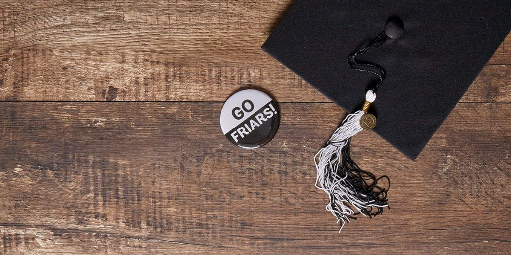 grad cap and go friars button