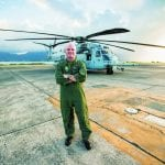 Lt. Col. Hunter in front of a CH-53 Super Stallion