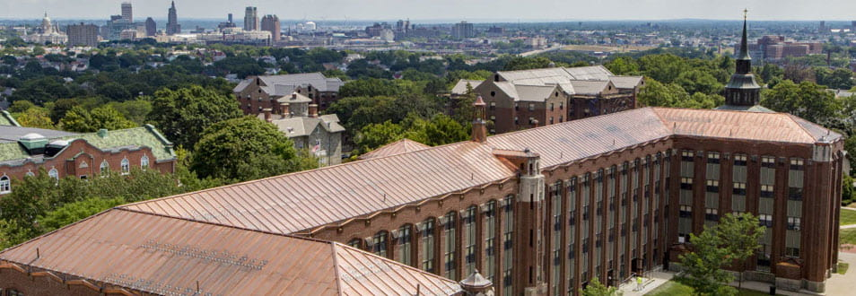 skyline view of aquinas hall roof