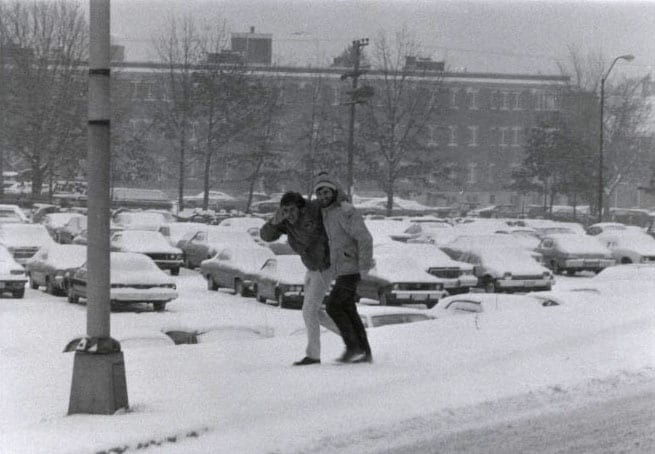 Students walking across campus during the blizzard of 1978