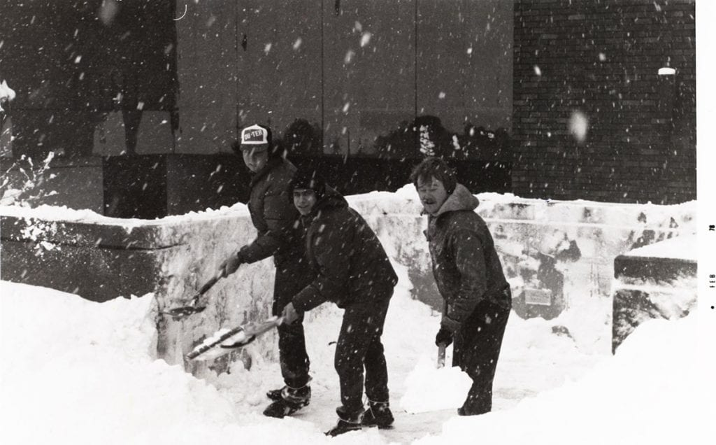 Students helping shovel snow during the blizzard of 1978