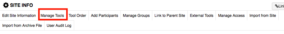 Screenshot of the Manage Tools button in Sakai