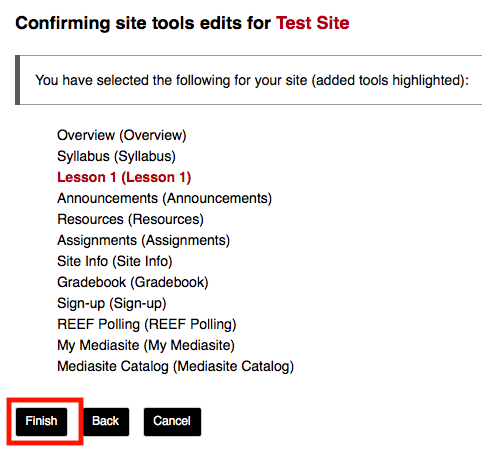 Screenshot of the Finish button for adding a Sakai Lesson page