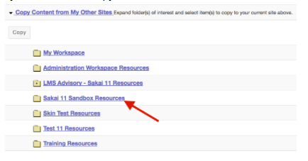 Screenshot of Sakai course resource folders
