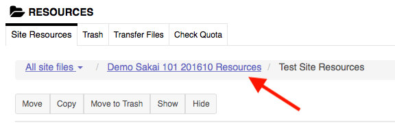Screenshot of breadcrumb menu in Sakai Resources