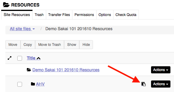 Screenshot of Sakai clipboard icon for pasting copied resources