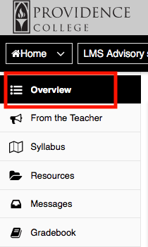 Screen shot of the Sakai Overview button