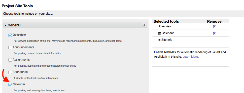 Screenshot of the interface for adding tools to a Sakai site