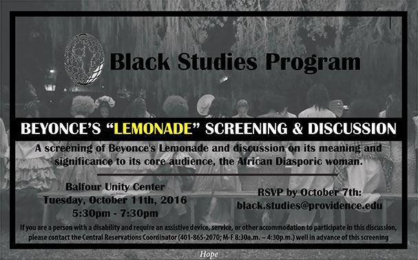 Beyonce's Lemonade screening flyer