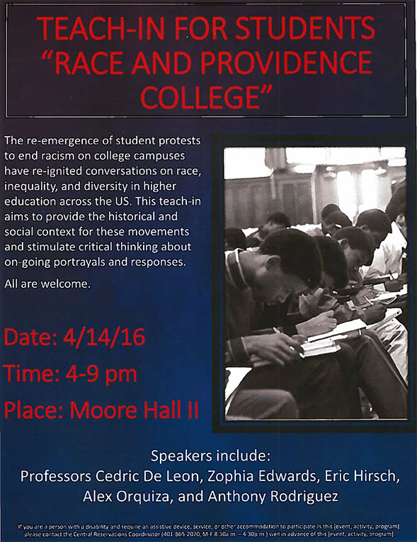 teach-in for students flyer