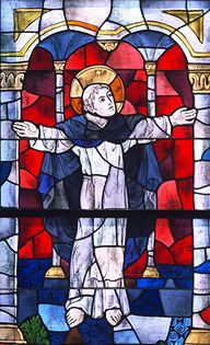 Stained glass image of St Dominic