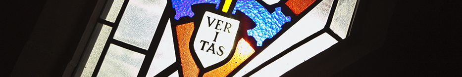 Veritas stained glass window