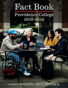 Fact book providence college 2018-2019 cover image four members of the college community around an outside table on campus